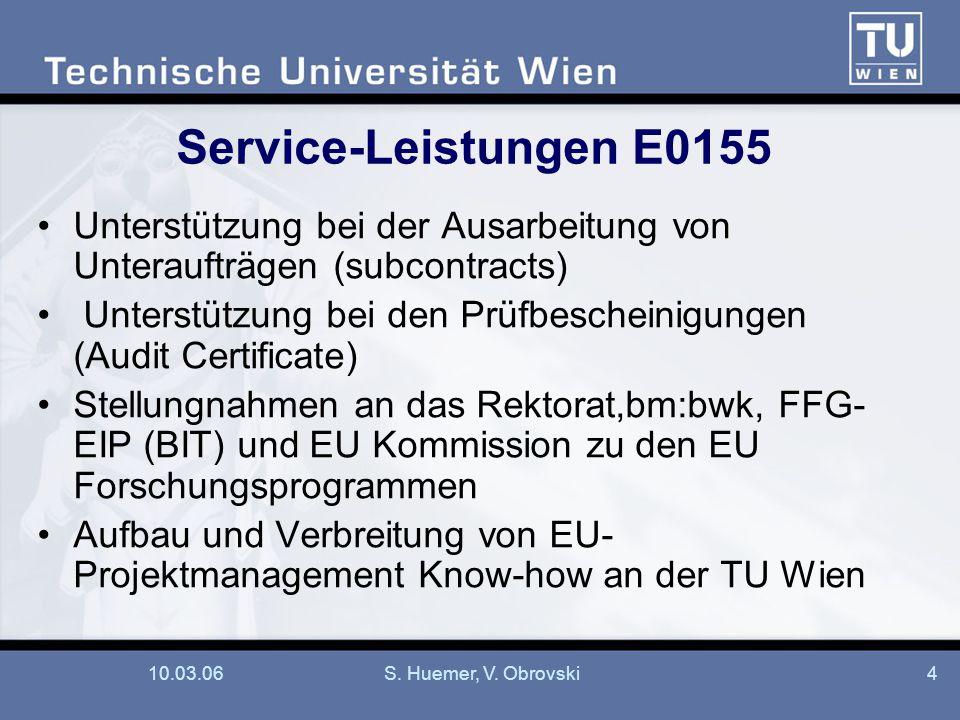 Service-Leistungen E0155 Unterstützung bei der Ausarbeitung von Unteraufträgen (subcontracts)