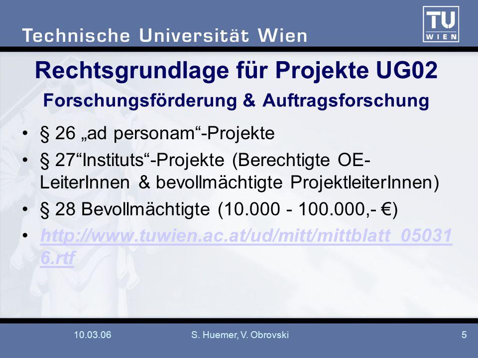 Rechtsgrundlage für Projekte UG02 Forschungsförderung & Auftragsforschung