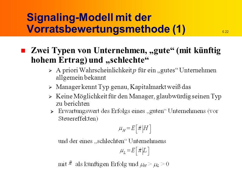 Signaling-Modell mit der Vorratsbewertungsmethode (1)