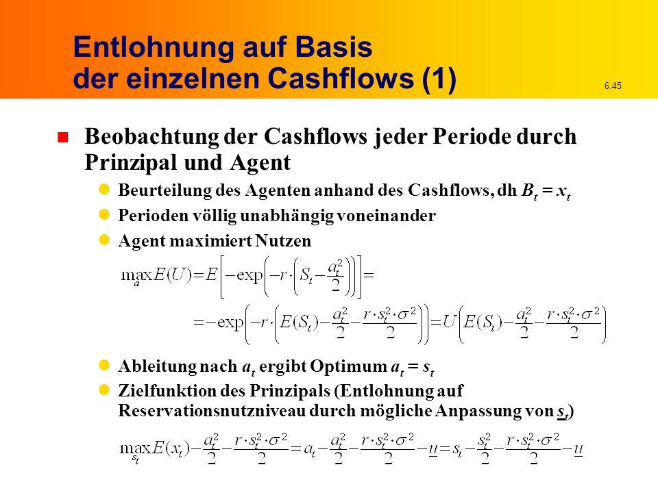Entlohnung auf Basis der einzelnen Cashflows (1)