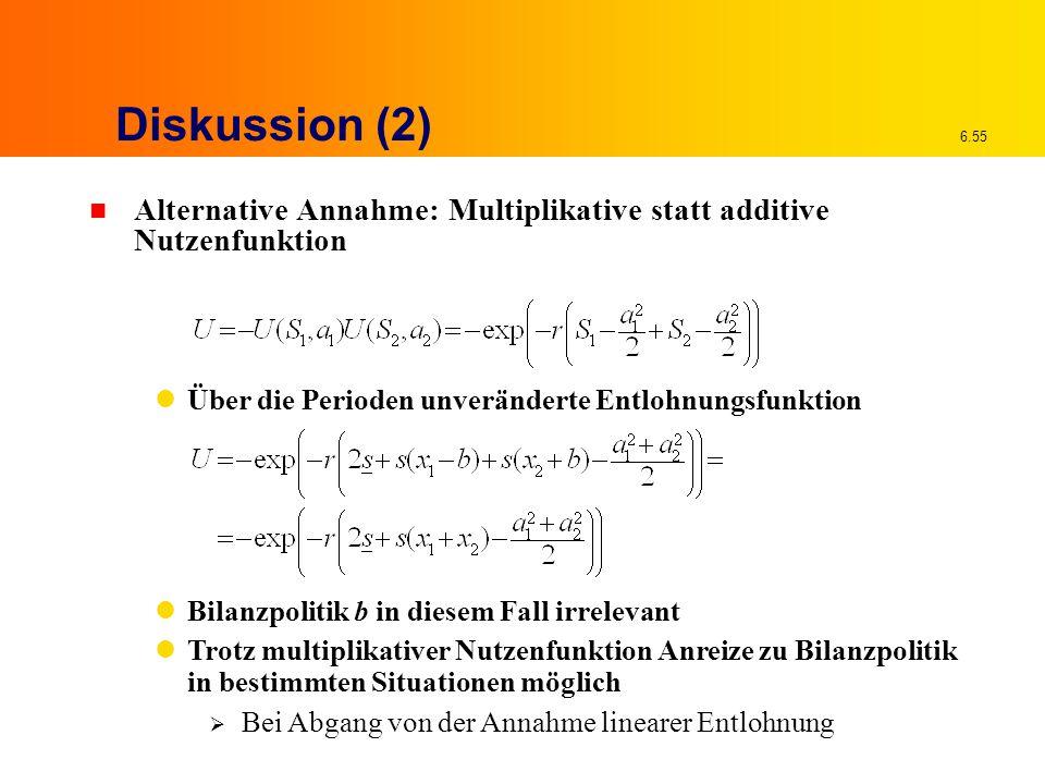 Diskussion (2) Alternative Annahme: Multiplikative statt additive Nutzenfunktion. Über die Perioden unveränderte Entlohnungsfunktion.