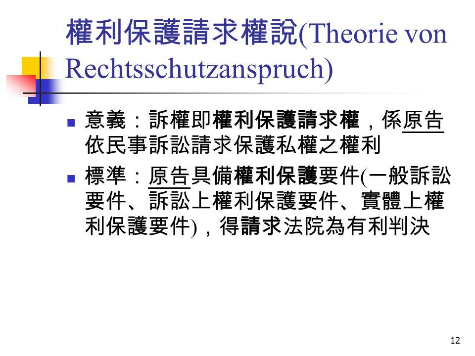 權利保護請求權說(Theorie von Rechtsschutzanspruch)