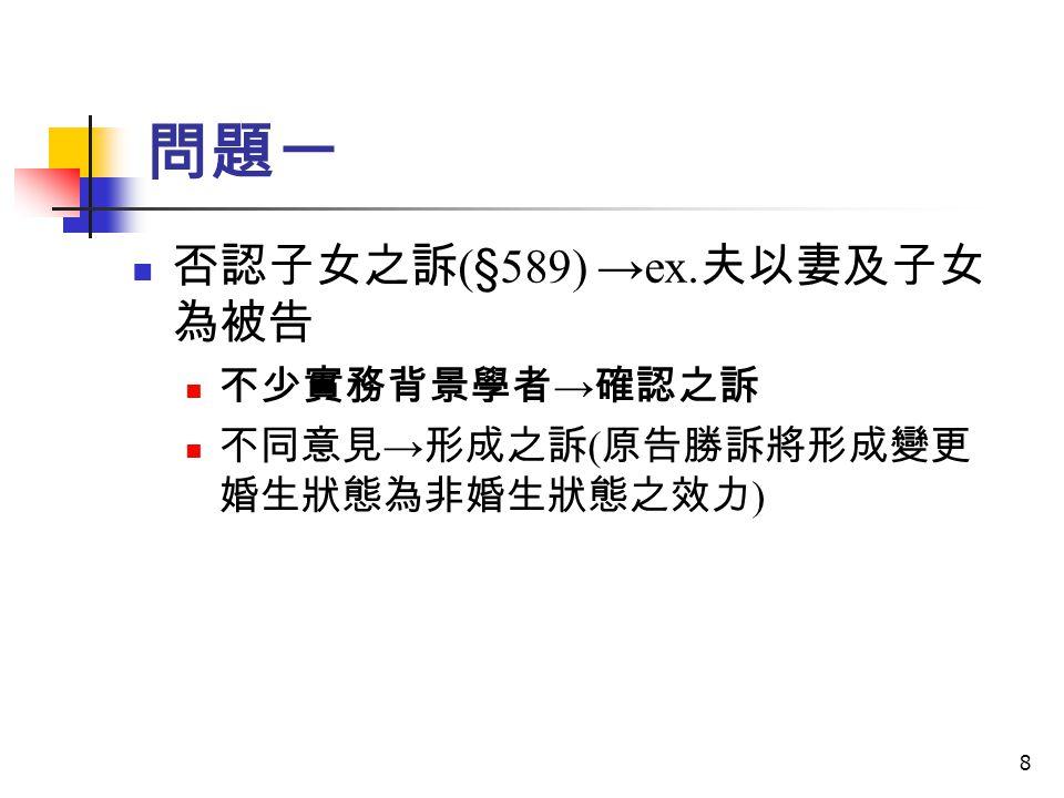 問題一 否認子女之訴(§589) →ex.夫以妻及子女為被告 不少實務背景學者→確認之訴
