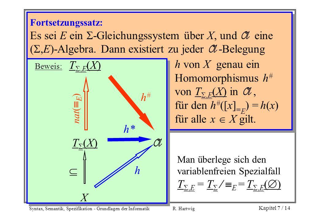 h von X genau ein Homomorphismus h# von T,E(X) in A ,