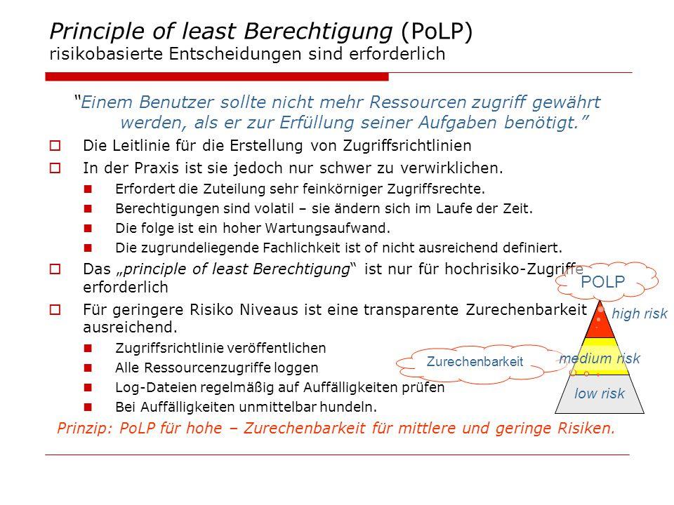 Principle of least Berechtigung (PoLP) risikobasierte Entscheidungen sind erforderlich