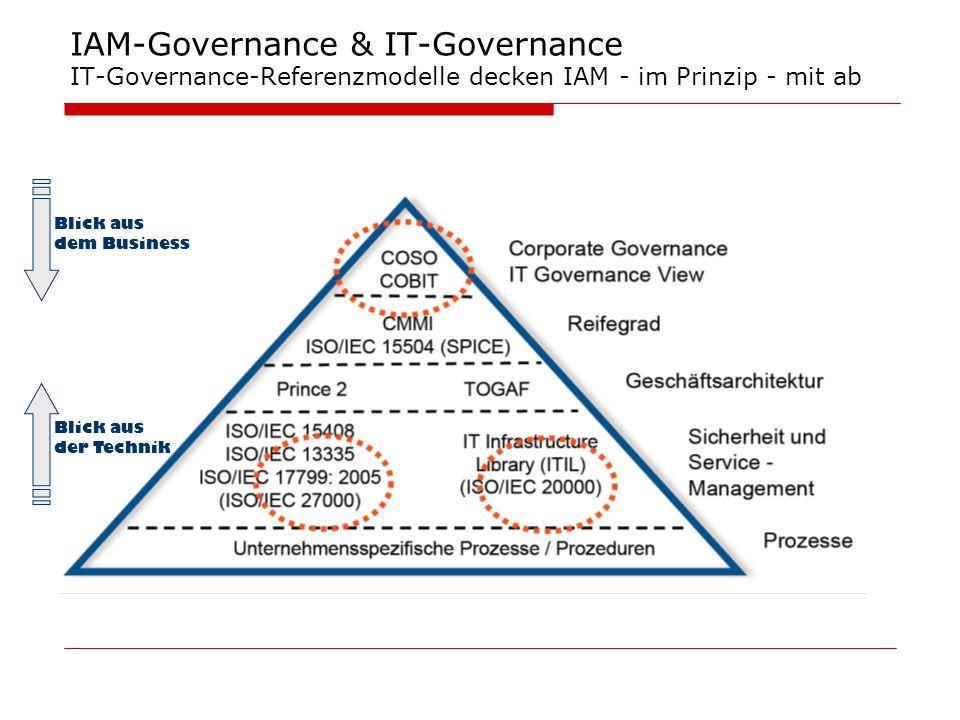 IAM-Governance & IT-Governance IT-Governance-Referenzmodelle decken IAM - im Prinzip - mit ab