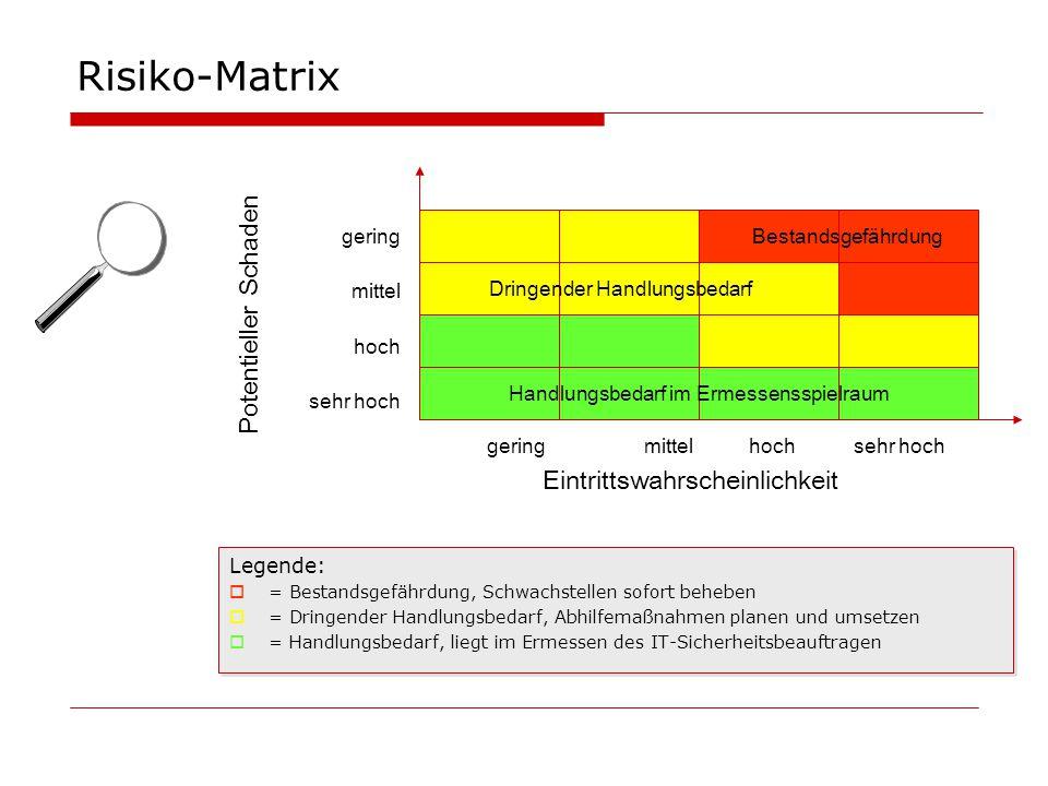 Risiko-Matrix Potentieller Schaden Eintrittswahrscheinlichkeit gering