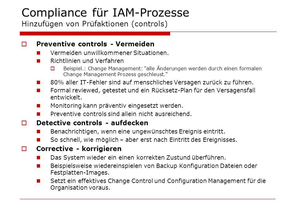 Compliance für IAM-Prozesse Hinzufügen von Prüfaktionen (controls)