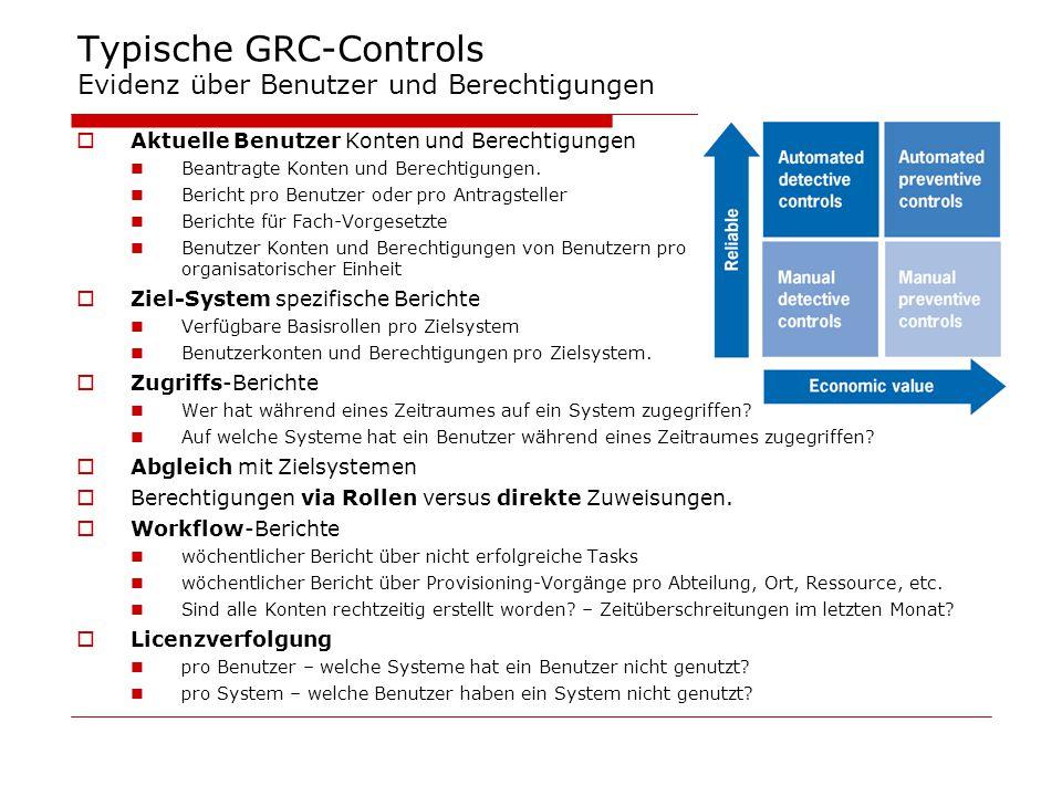 Typische GRC-Controls Evidenz über Benutzer und Berechtigungen