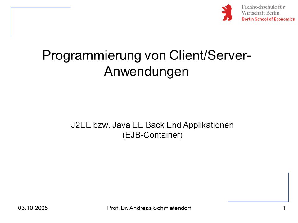 Programmierung von Client/Server-Anwendungen