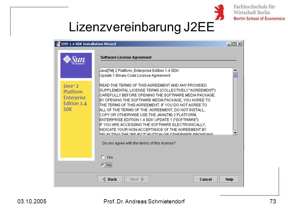 Lizenzvereinbarung J2EE