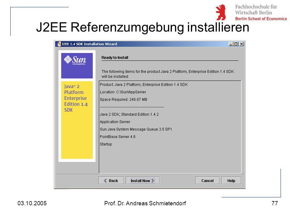 J2EE Referenzumgebung installieren