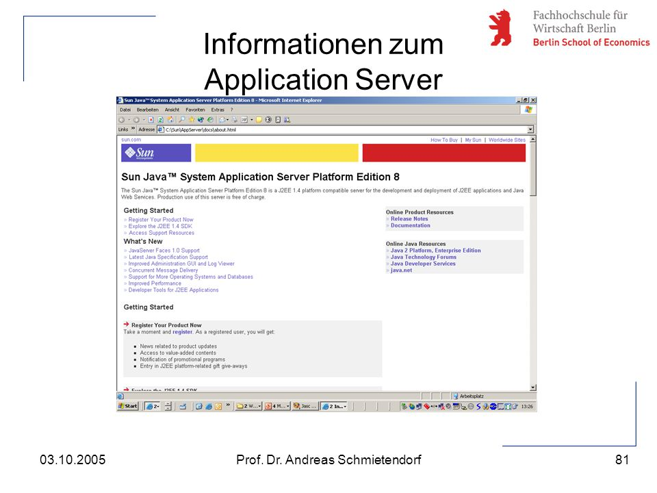 Informationen zum Application Server