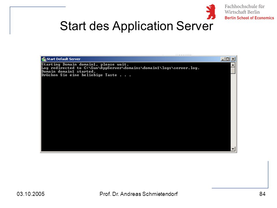 Start des Application Server