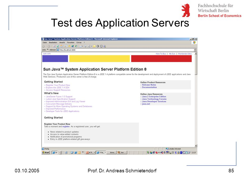 Test des Application Servers