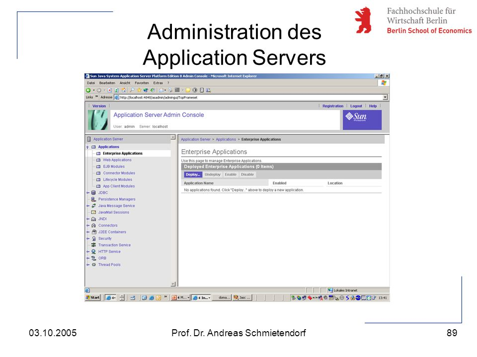 Administration des Application Servers