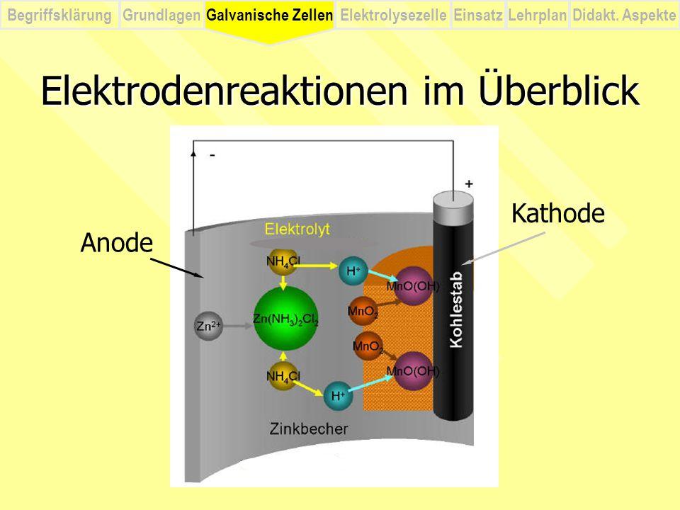 Elektrodenreaktionen im Überblick