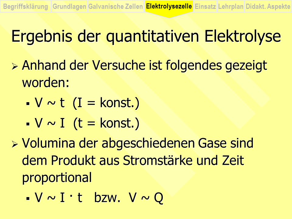Ergebnis der quantitativen Elektrolyse