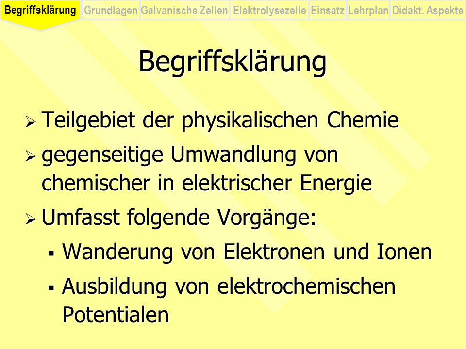 Begriffsklärung Teilgebiet der physikalischen Chemie