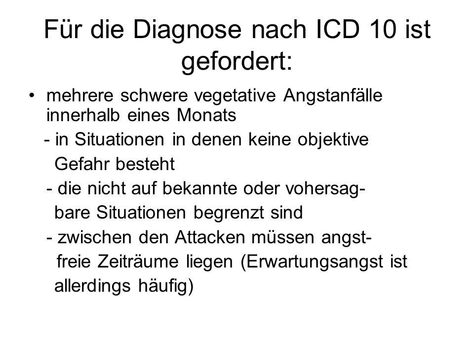 Für die Diagnose nach ICD 10 ist gefordert: