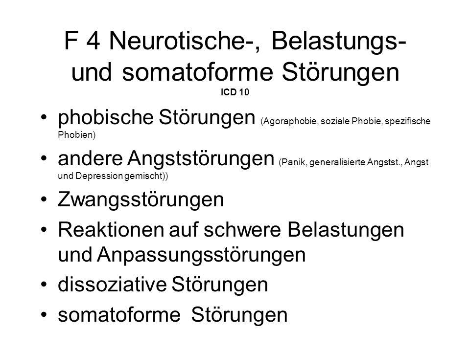 F 4 Neurotische-, Belastungs- und somatoforme Störungen ICD 10