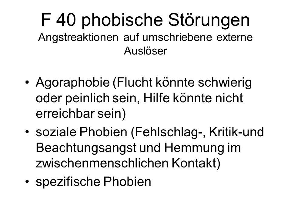 F 40 phobische Störungen Angstreaktionen auf umschriebene externe Auslöser
