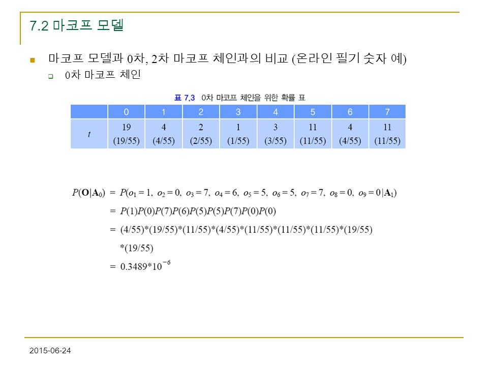 7.2 마코프 모델 마코프 모델과 0차, 2차 마코프 체인과의 비교 (온라인 필기 숫자 예) 0차 마코프 체인