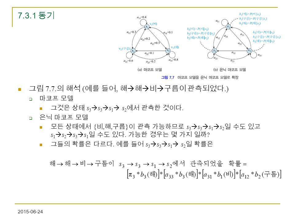7.3.1 동기 그림 7.7.의 해석 (예를 들어, 해해비구름이 관측되었다.) 마코프 모델
