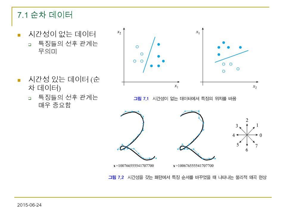 7.1 순차 데이터 시간성이 없는 데이터 시간성 있는 데이터 (순차 데이터) 특징들의 선후 관계는 무의미