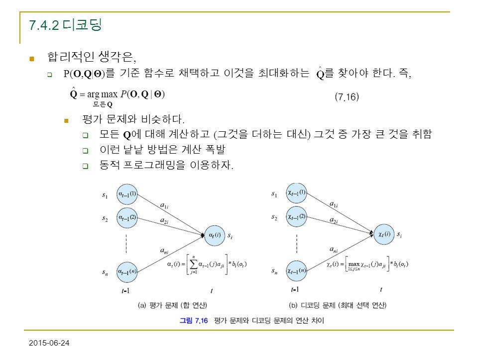 7.4.2 디코딩 합리적인 생각은, P(O,Q|Θ)를 기준 함수로 채택하고 이것을 최대화하는 를 찾아야 한다. 즉,