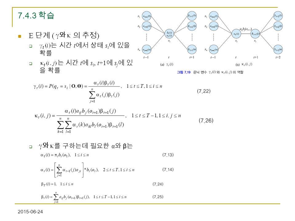 7.4.3 학습 E 단계 ( 의 추정) 는 시간 t에서 상태 si에 있을 확률 는 시간 t에 si, t+1에 sj에 있을 확률