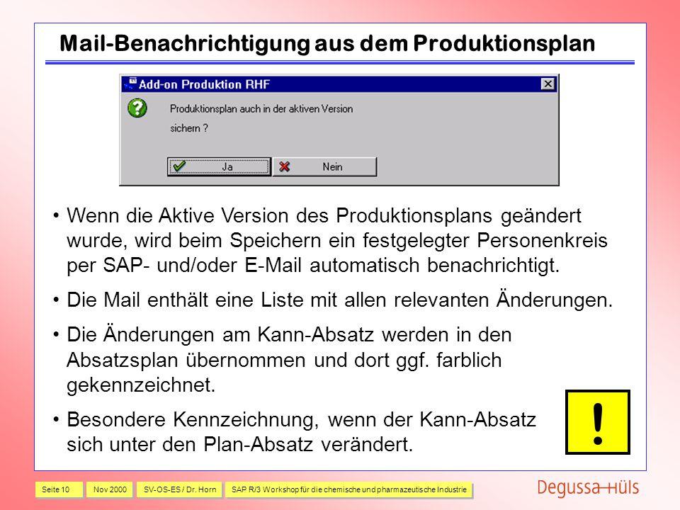 Mail-Benachrichtigung aus dem Produktionsplan