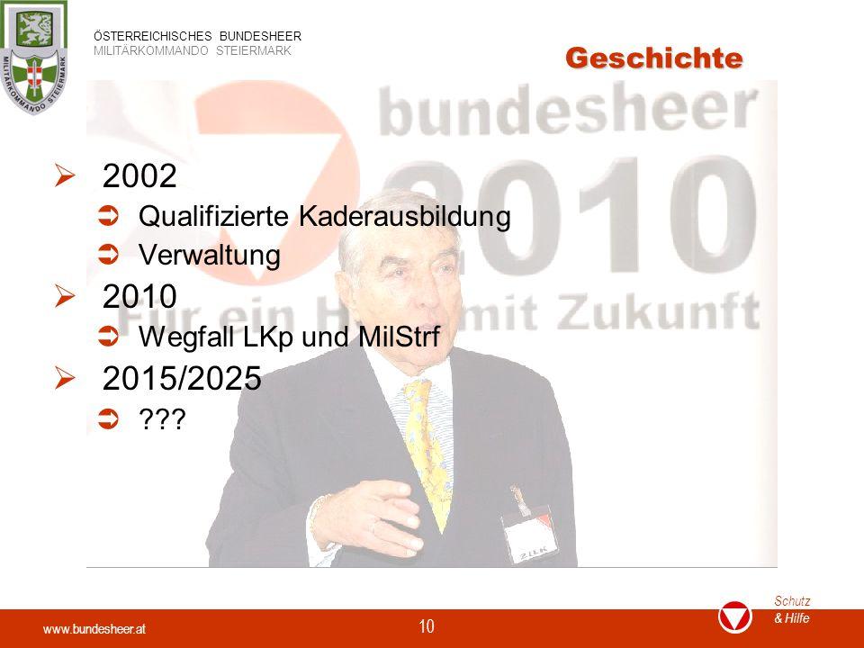2002 2010 2015/2025 Geschichte Qualifizierte Kaderausbildung