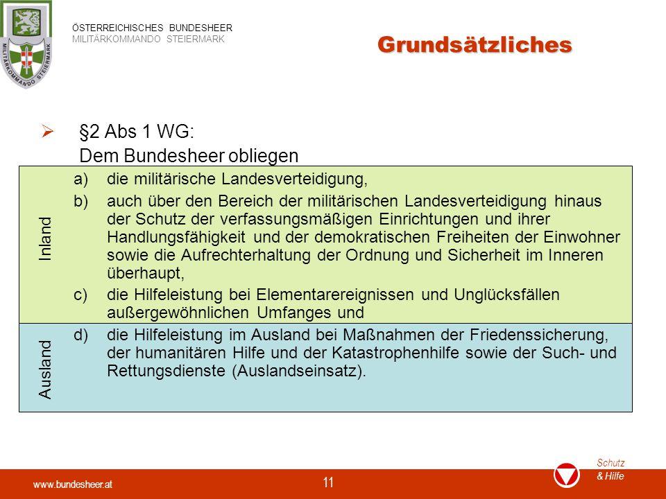 Grundsätzliches §2 Abs 1 WG: Dem Bundesheer obliegen