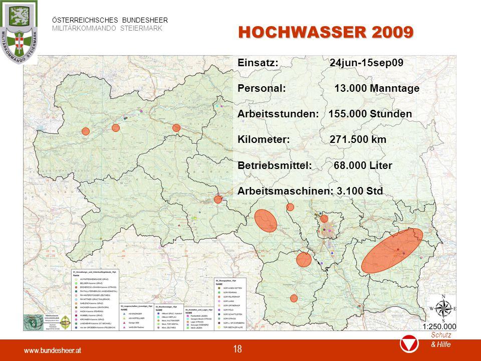 HOCHWASSER 2009 Einsatz: 24jun-15sep09 Personal: 13.000 Manntage
