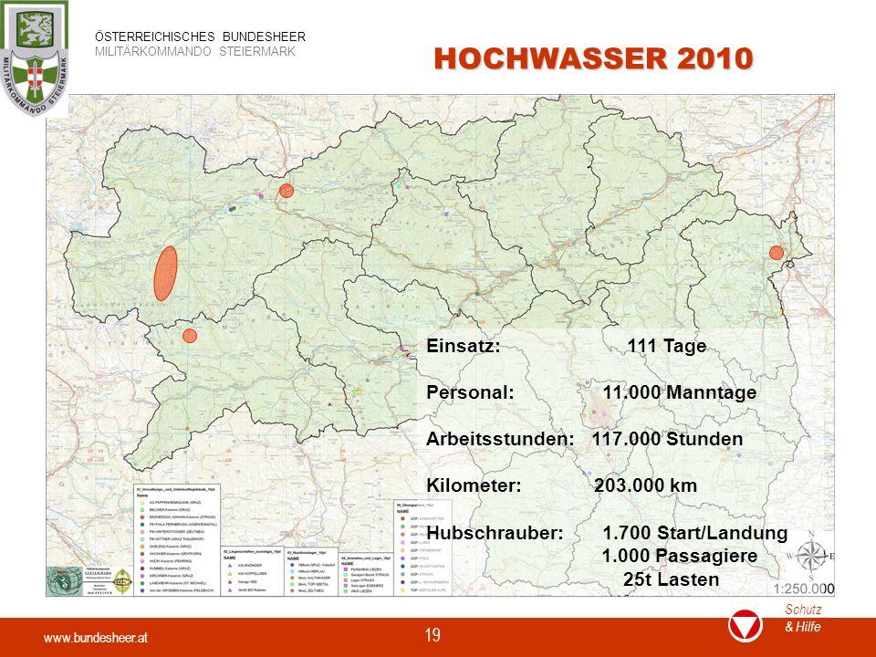 HOCHWASSER 2010 Einsatz: 111 Tage Personal: 11.000 Manntage
