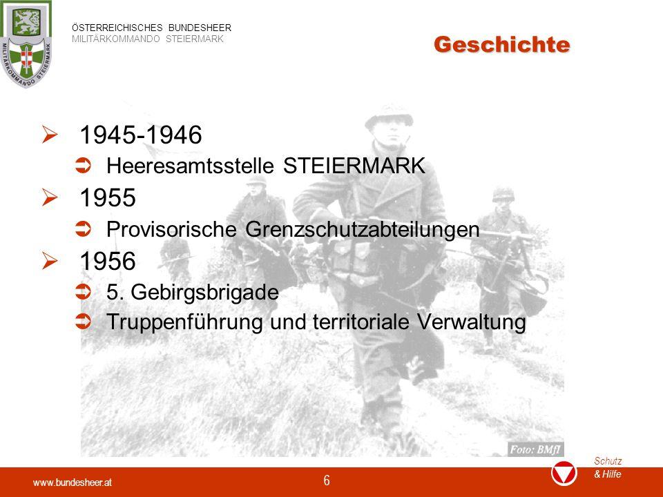 1945-1946 1955 1956 Geschichte Heeresamtsstelle STEIERMARK