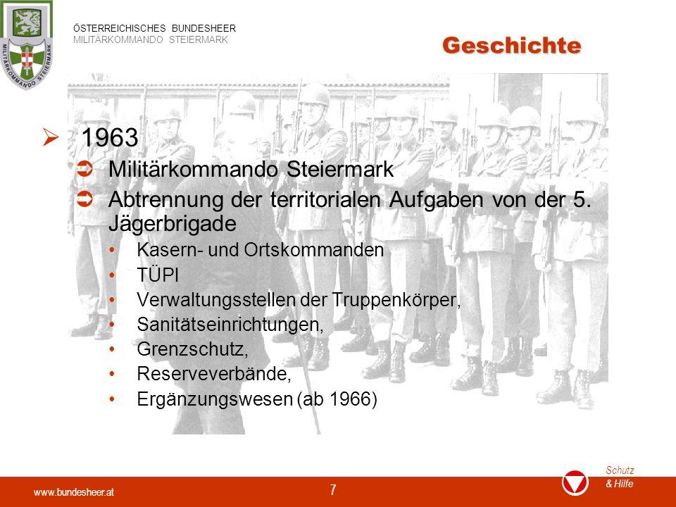 1963 Geschichte Militärkommando Steiermark