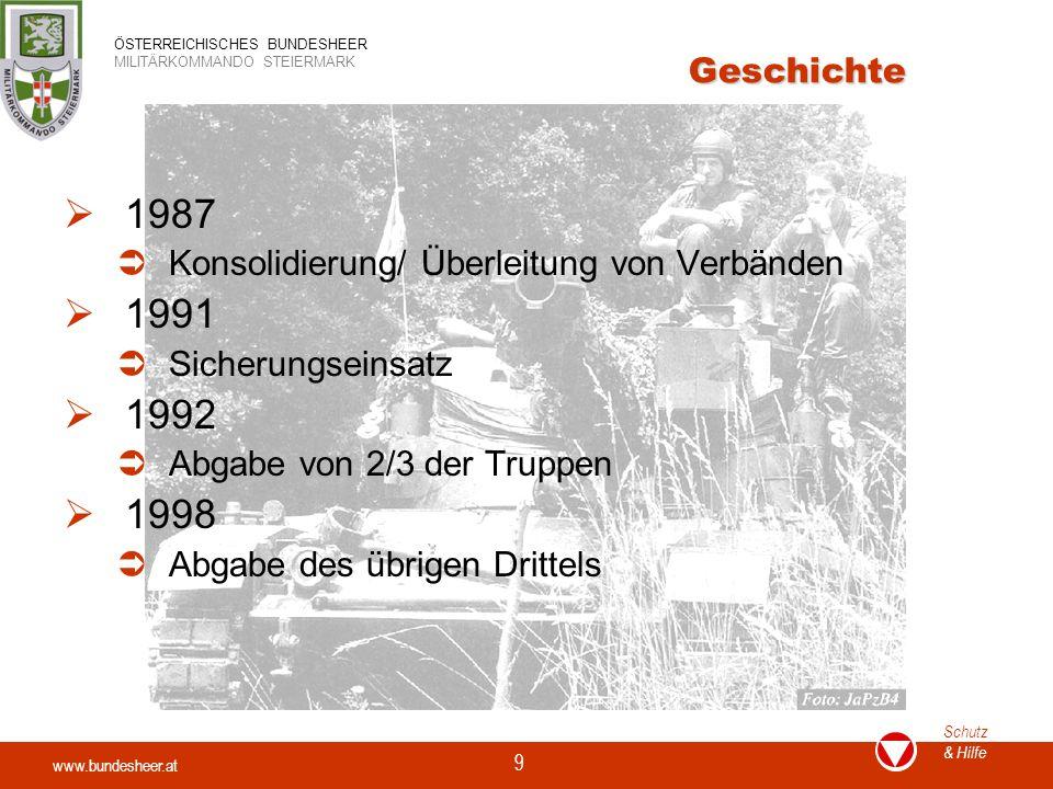 Geschichte 1987. Konsolidierung/ Überleitung von Verbänden. 1991. Sicherungseinsatz. 1992. Abgabe von 2/3 der Truppen.