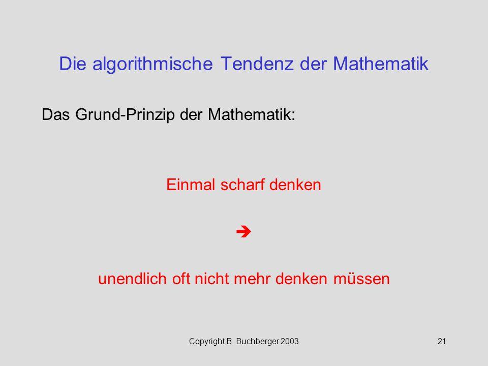 Die algorithmische Tendenz der Mathematik