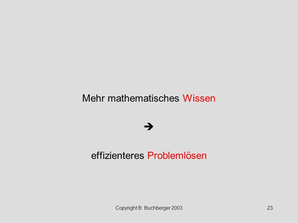 Mehr mathematisches Wissen  effizienteres Problemlösen