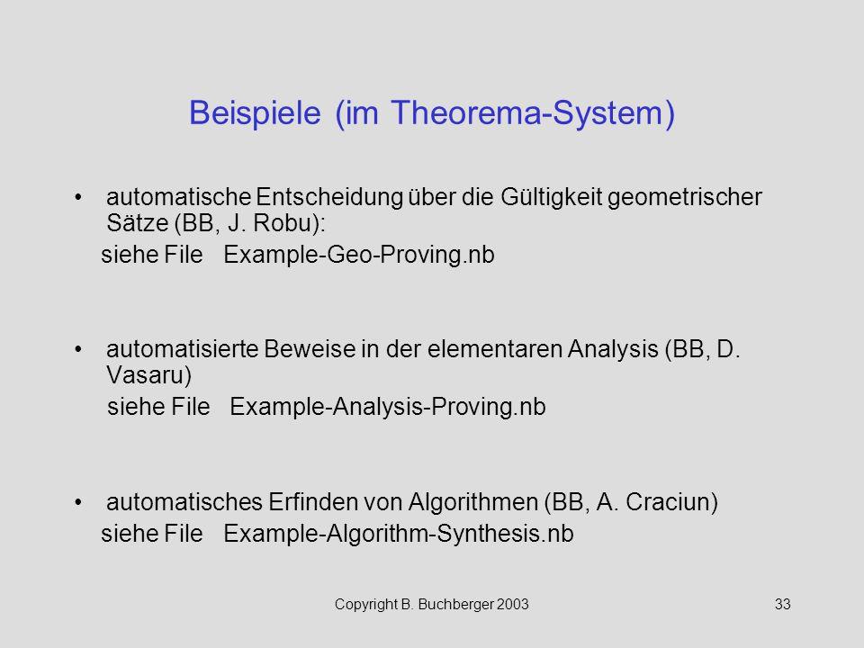 Beispiele (im Theorema-System)