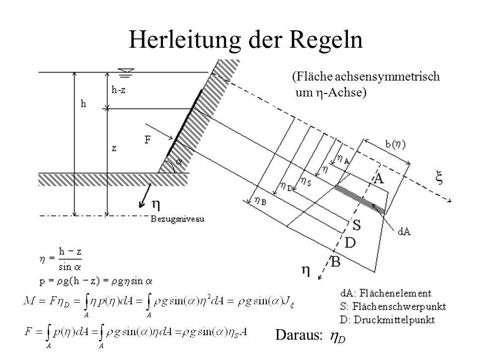 Herleitung der Regeln (Fläche achsensymmetrisch um h-Achse) Daraus: hD