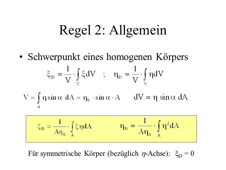 Regel 2: Allgemein Schwerpunkt eines homogenen Körpers