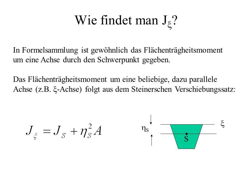 Wie findet man Jx In Formelsammlung ist gewöhnlich das Flächenträgheitsmoment. um eine Achse durch den Schwerpunkt gegeben.