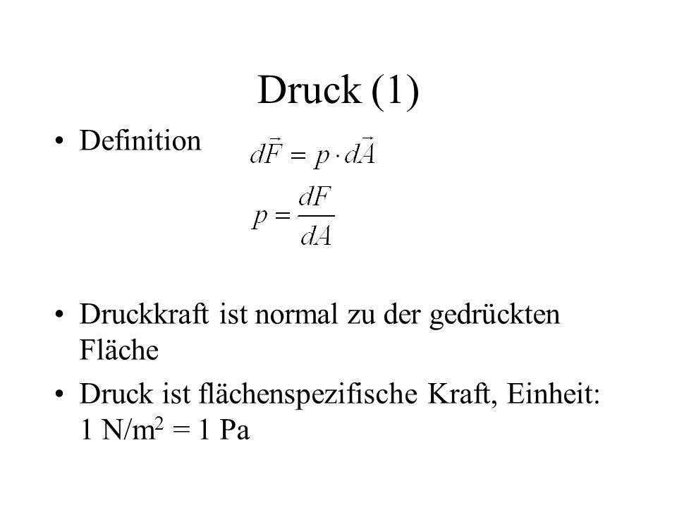 Druck (1) Definition Druckkraft ist normal zu der gedrückten Fläche