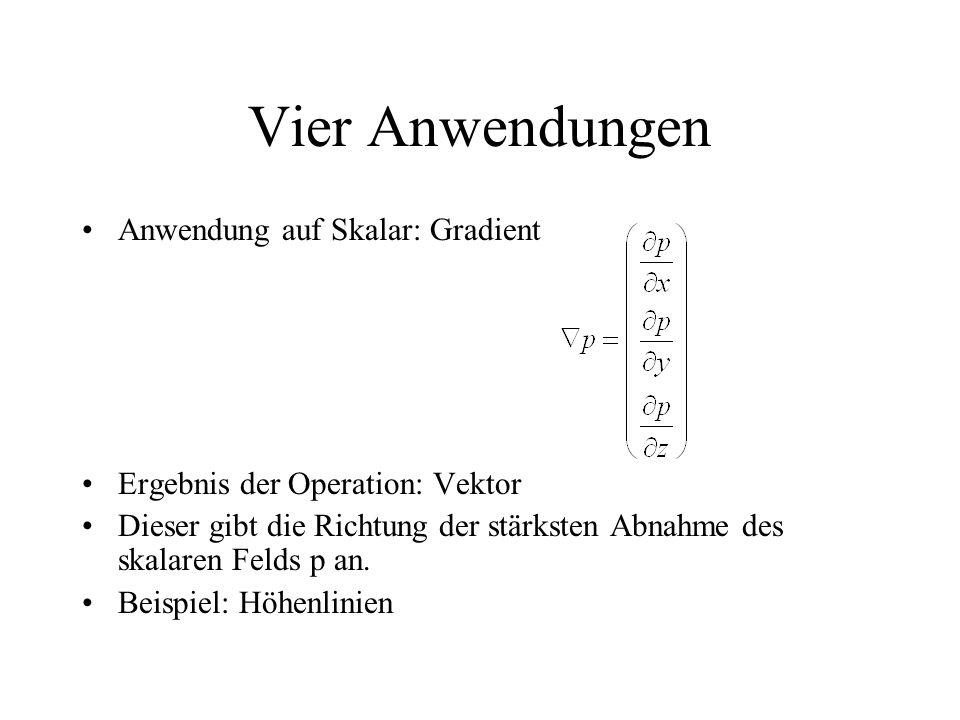 Vier Anwendungen Anwendung auf Skalar: Gradient