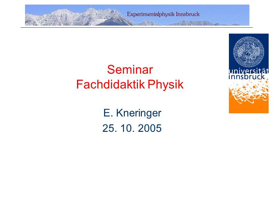 Seminar Fachdidaktik Physik