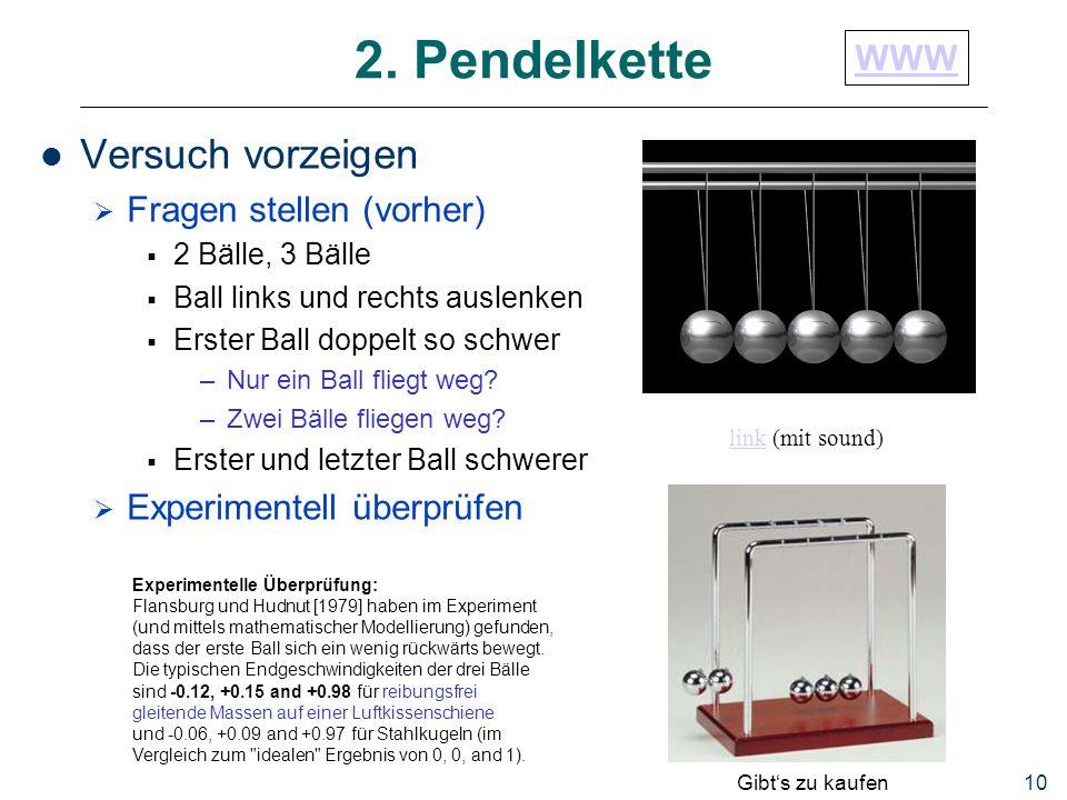 2. Pendelkette Versuch vorzeigen WWW Fragen stellen (vorher)