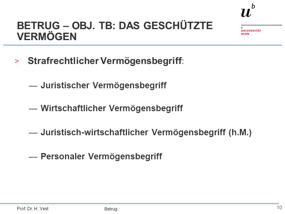 BETRUG – OBJ. TB: DAS GESCHÜTZTE VERMÖGEN
